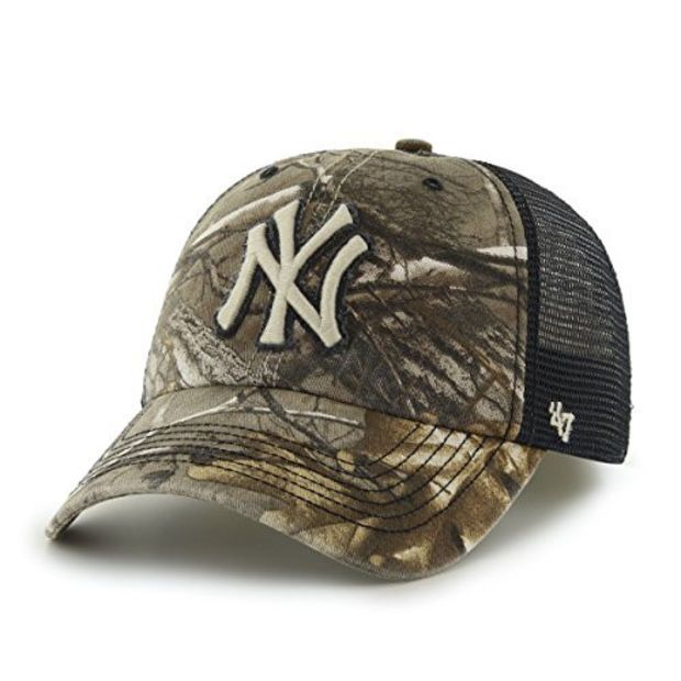 cae6f388164c18 MLB New York Yankees '47 Huntsman Closer Camo Mesh Stretch Fit Hat, One Size,  Realtree Camouflage