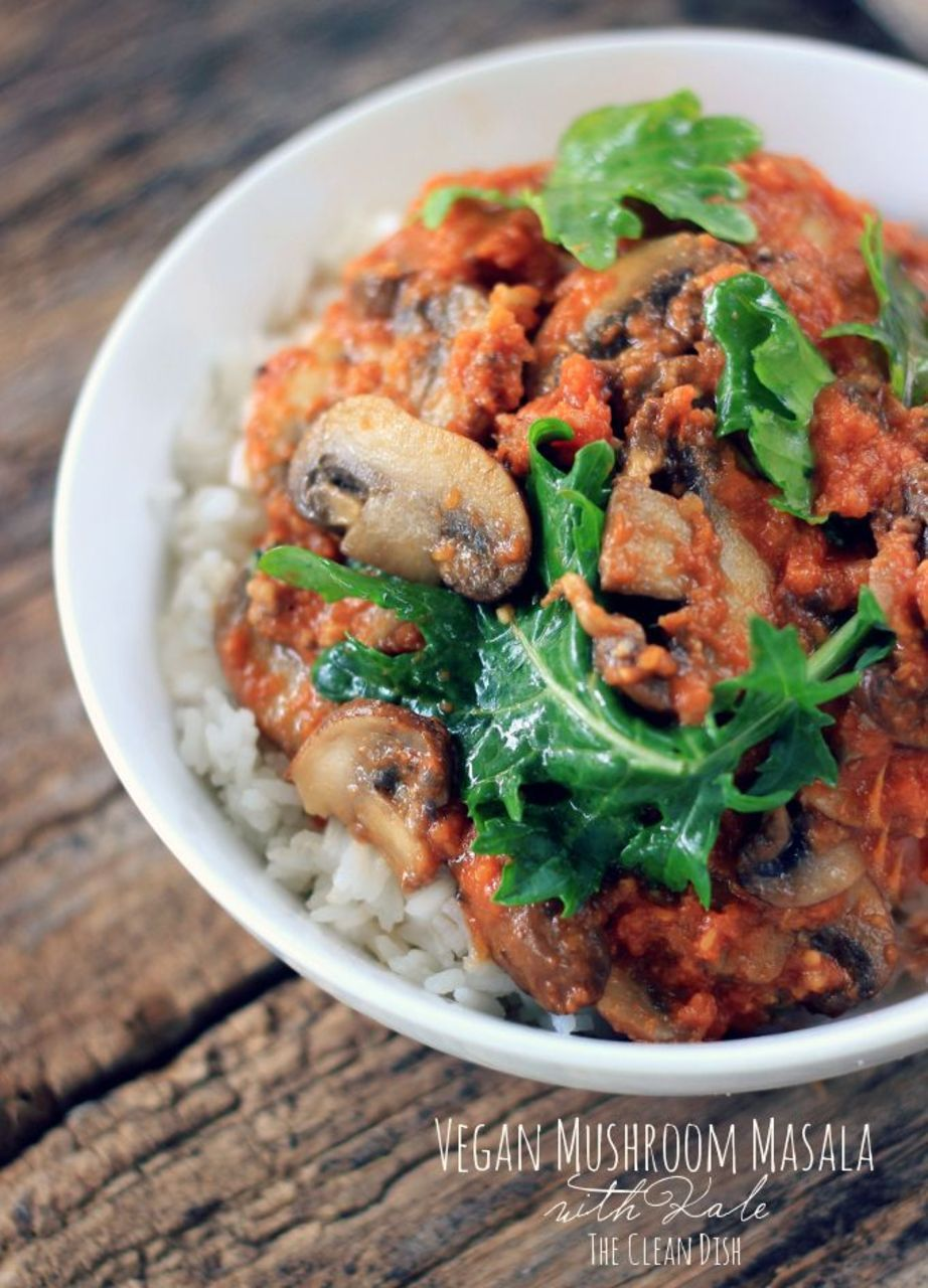 Vegan mushroom masala with kale grain free and gluten free with the addition of kale this spicy indian dish makes a quick easy and wholesome weekday meal indian food forumfinder Gallery