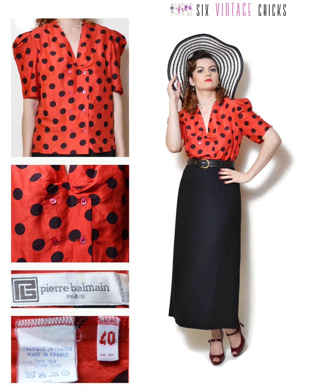 ca95232bc1647 button down shirt vintage short sleeve shirt women clothing sexy tops 80s  clothing polka dot silk blouse boho retro minimalist sexy gifts L by ...