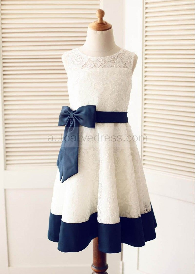 Ivory Lace With Navy Blue Bow Sash Knee Length Flower Girl Dress