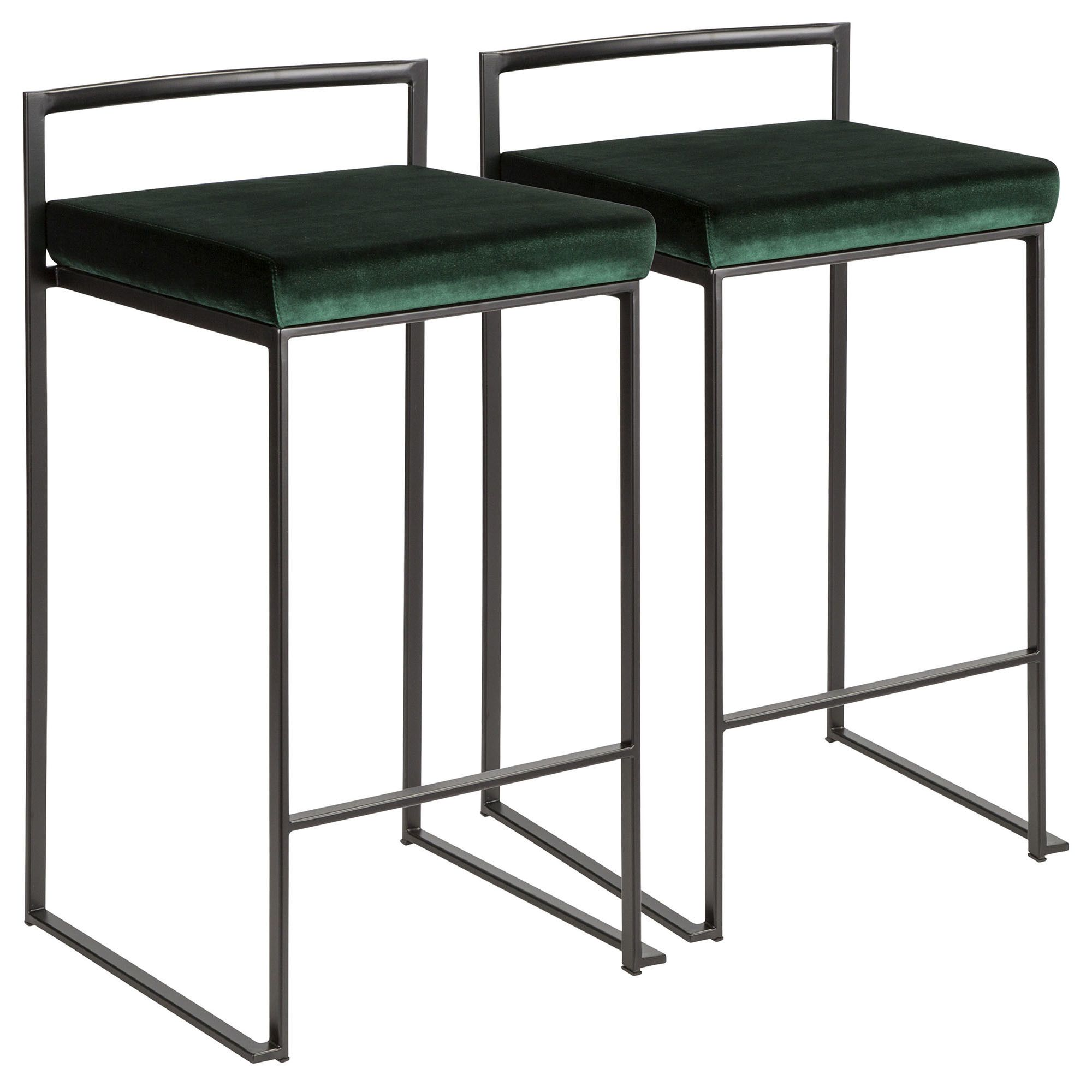 Remarkable Fuji Contemporary Stackable Counter Stool In Black W Green Gmtry Best Dining Table And Chair Ideas Images Gmtryco