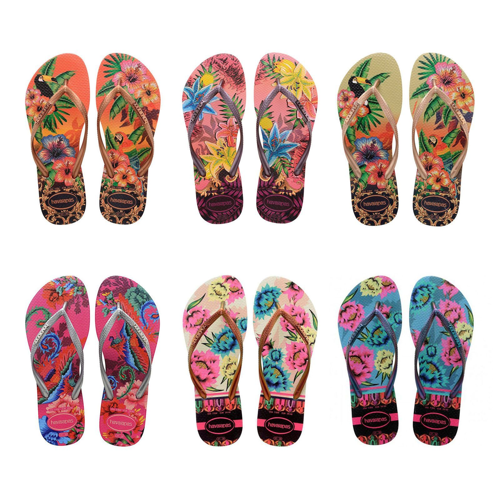 eb033b51be5c79 Original Havaianas Flip Flops Slim Tropical Beach Sandals Women All Sizes