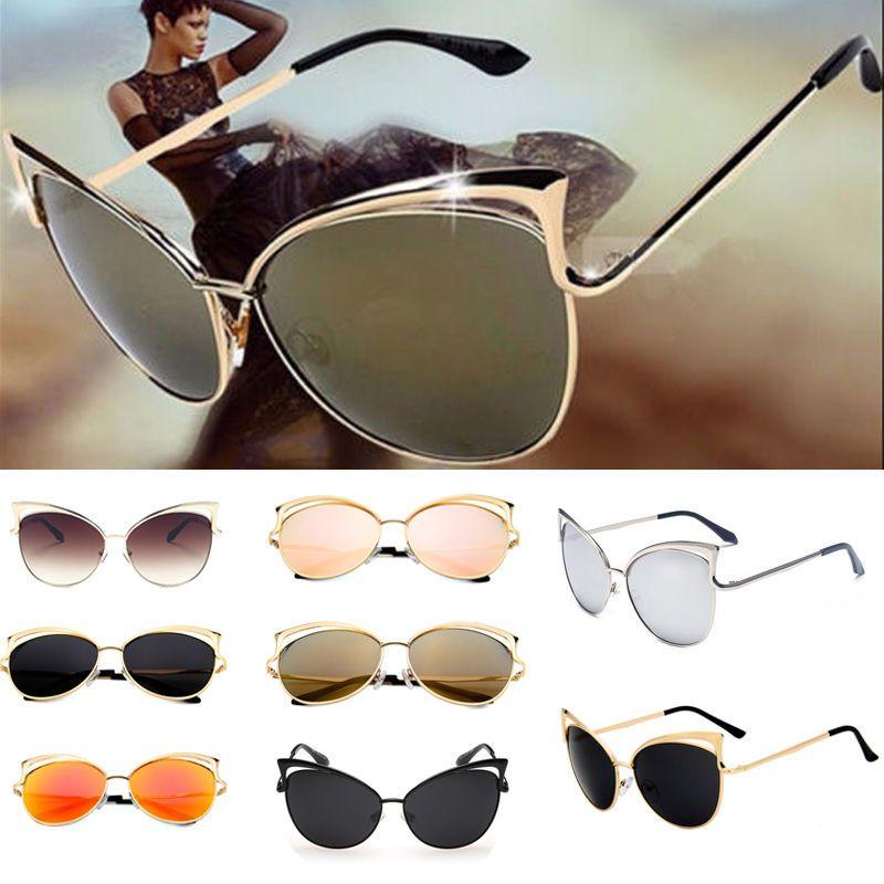 Womens Ladies Retro Vintage Cat Eye Mirror Sunglasses Fashion Eyewear