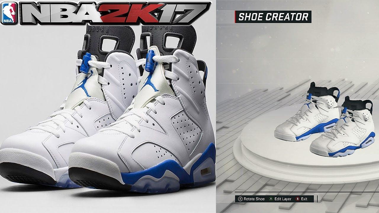NBA 2K17 Shoe Creator Air Jordan 6 Sport Blue
