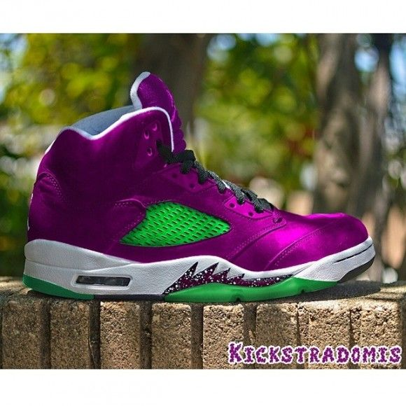 "3a9b65a3639364 Air Jordan 5 ""Purple Urkel"" Customs by Kickstradomis"
