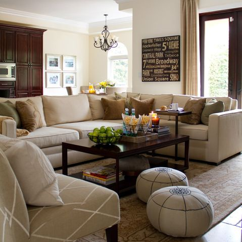 neutral living room with taupe sectional design ideas, pictures
