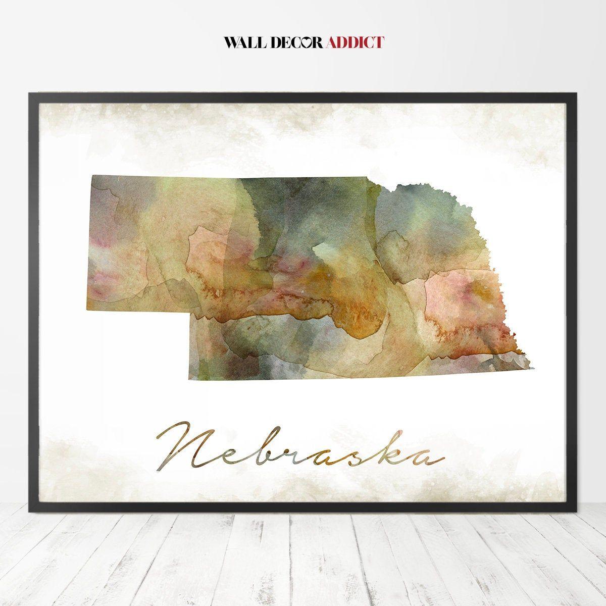 Nebraska Map Print Nebraska Map Nebraska Wall Art State Etsy State Map Wall Art State Map Art Map Print