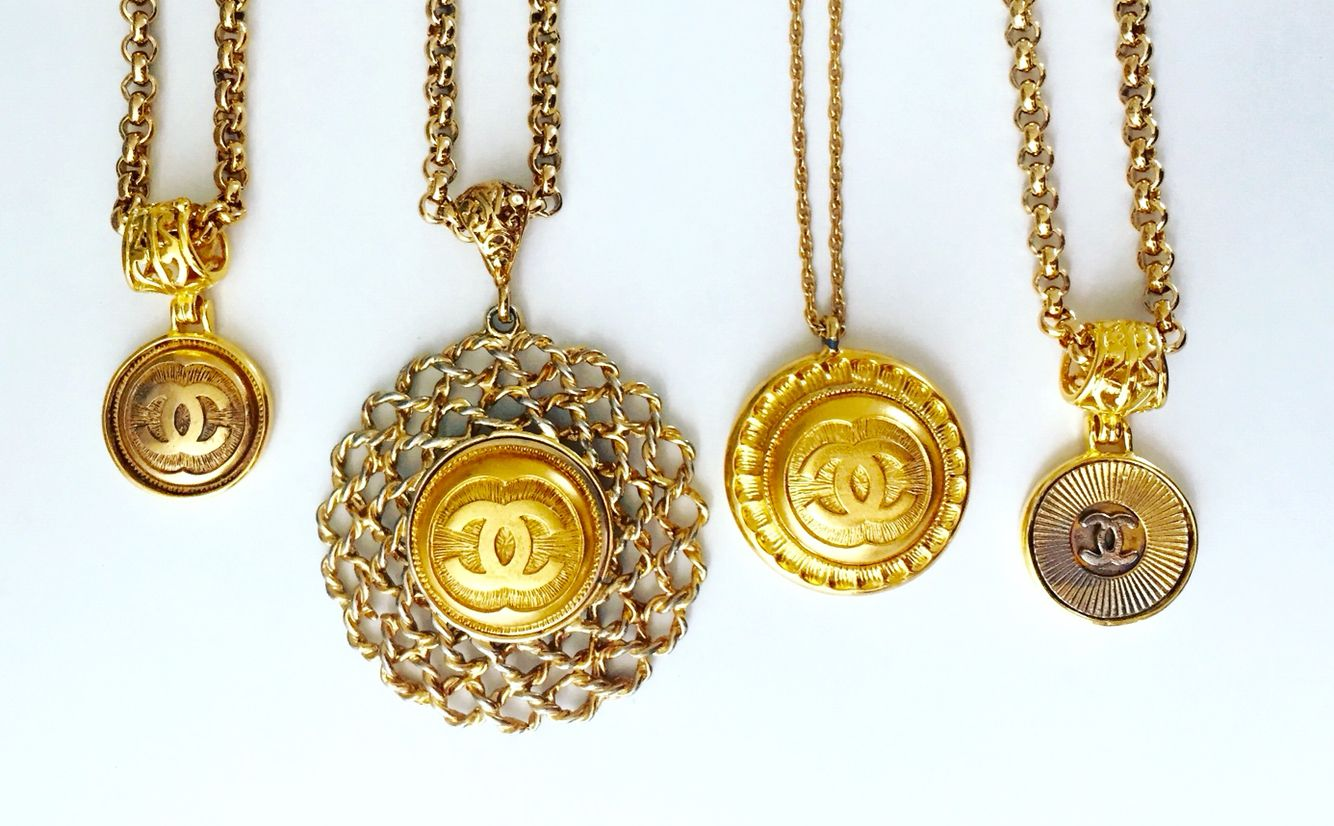 cedb9c304c16 So many repurposed Chanel button necklaces to choose from! Find this Pin  and more on Vintage ...