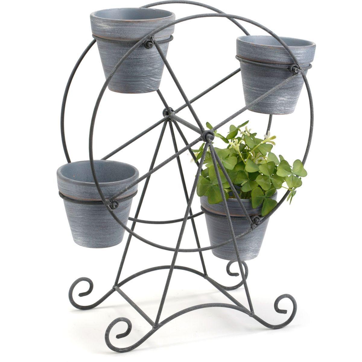 Pot Plastique Grande Taille amadeus - cache pot grande roue en métal et pierre - taille