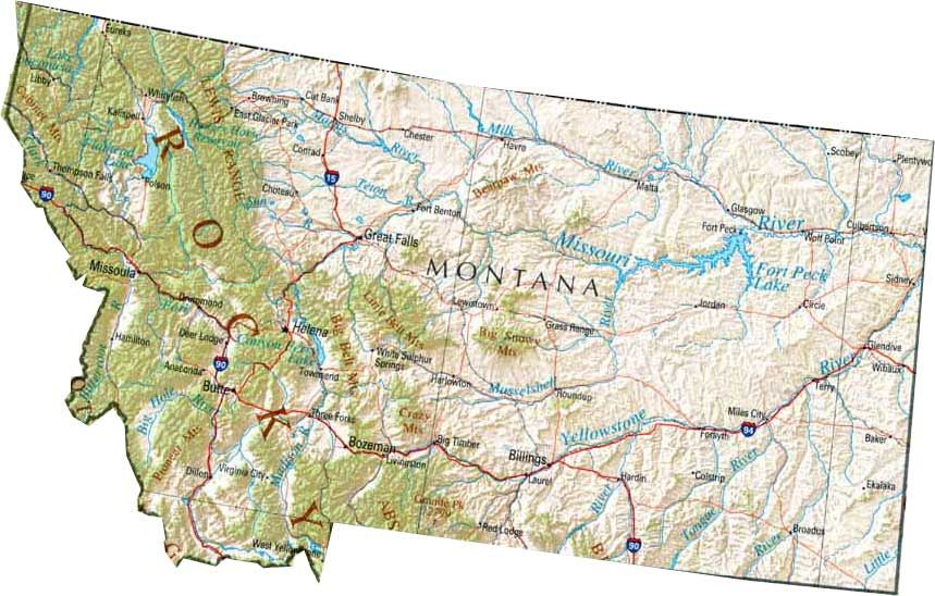 Map of Montana, MT state map | Montana state map, Map, State map