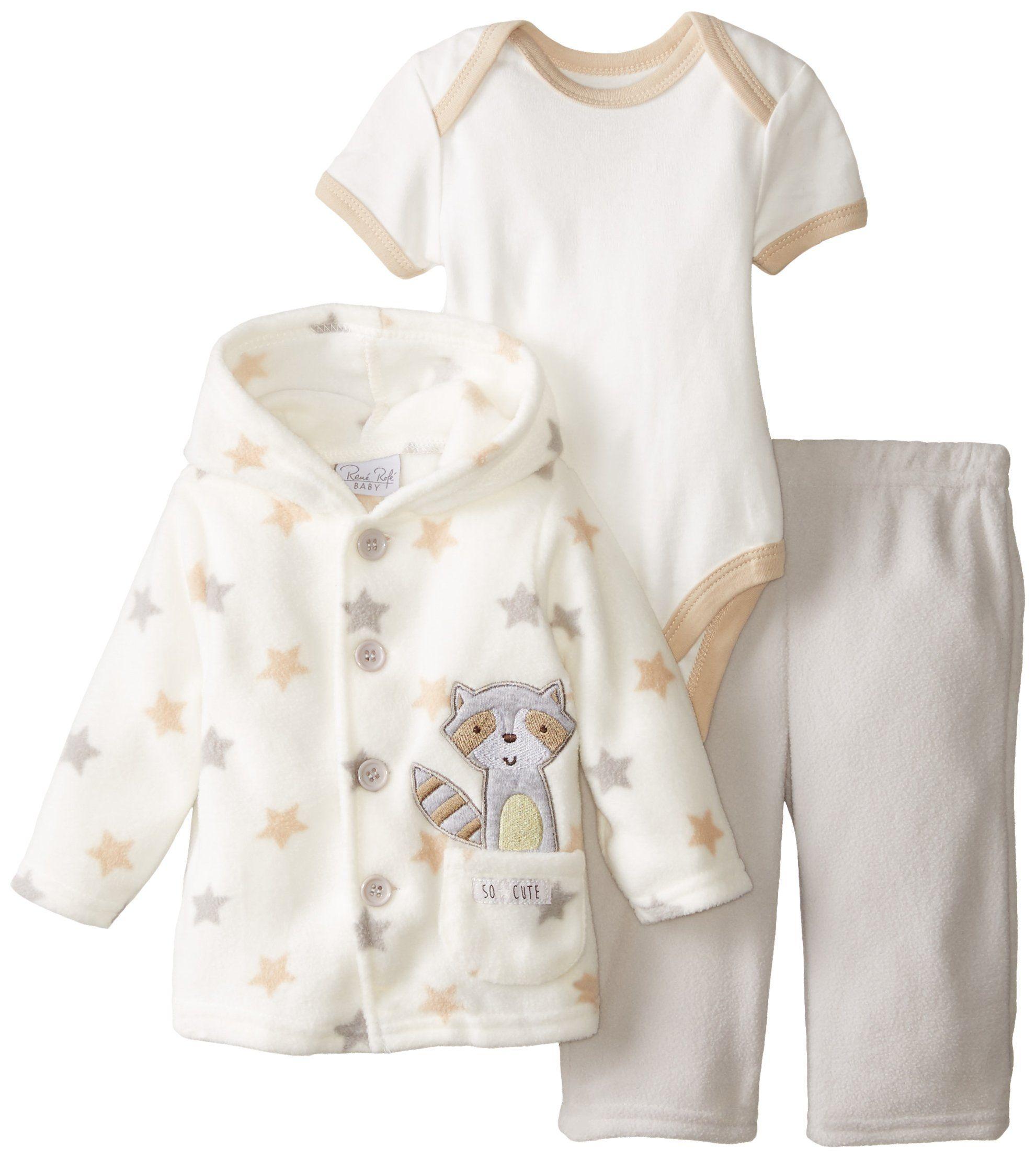 c7418abf3 Rene Rofe Baby Unisex-Baby Newborn 3 Piece Micro Fleece Button Front ...