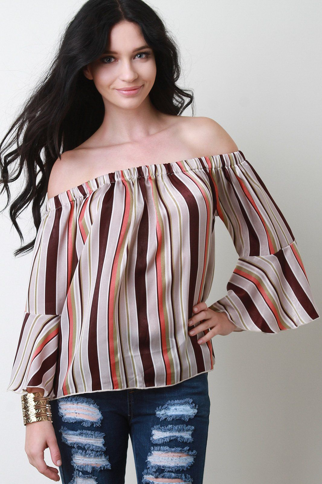 a3814e987f2 Multi-Color Striped Bell Sleeve Bardot Top in 2019 | Dresses | Color ...
