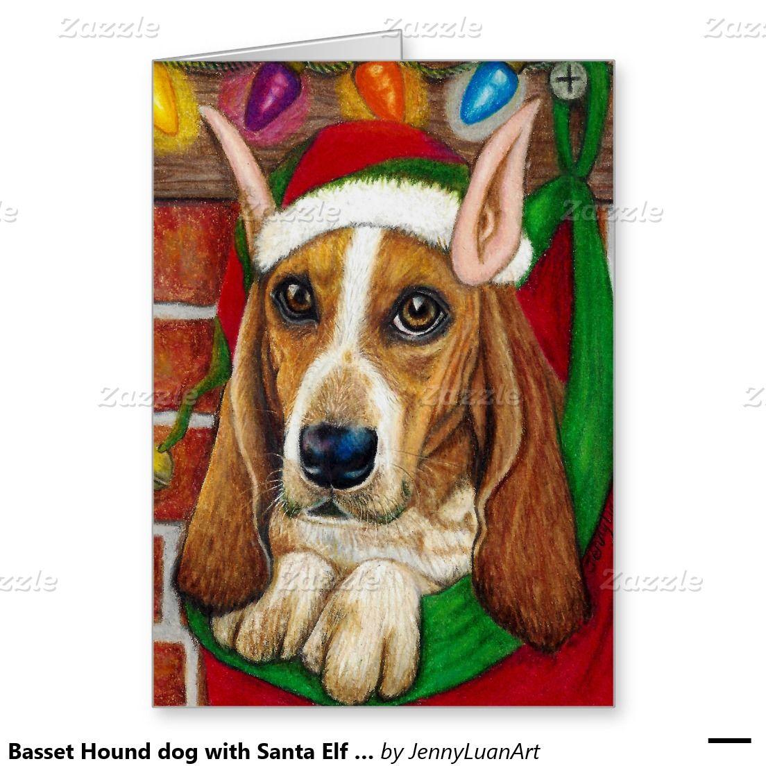 Basset Hound dog with Santa Elf Ear in Stocking Holiday Card ...
