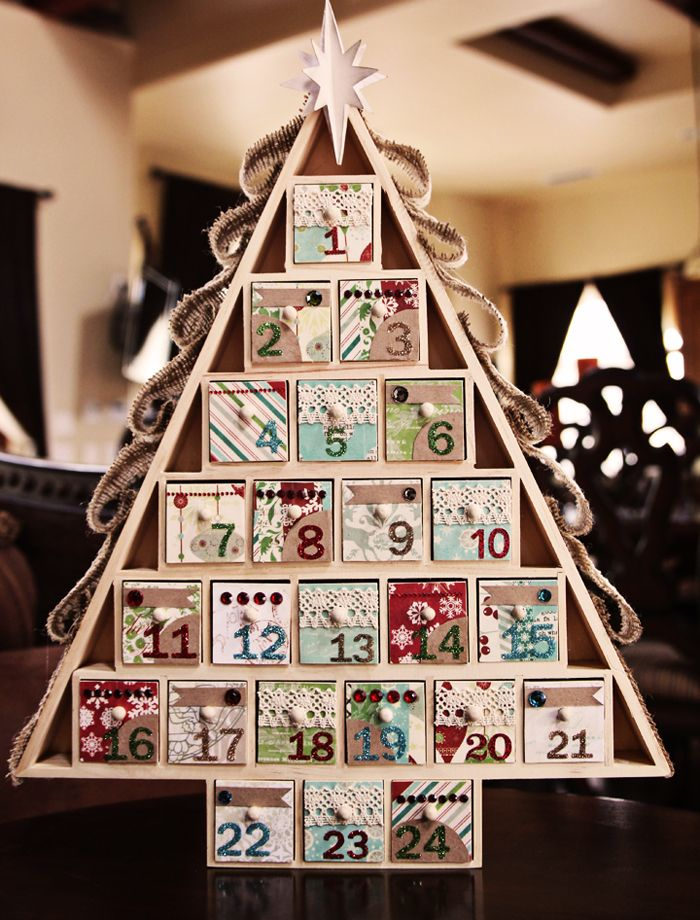 Traditional Wooden Christmas Tree Shaped Advent Calendar Santa Drawers Display