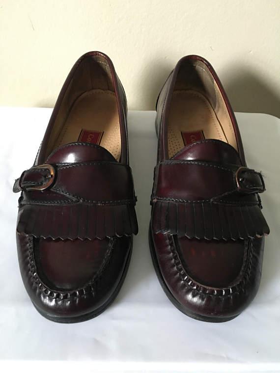 53e3bd4d9a Vintage Cole Haan Mens Burgundy Leather Pinch Buckle Kiltie | SHOE ...