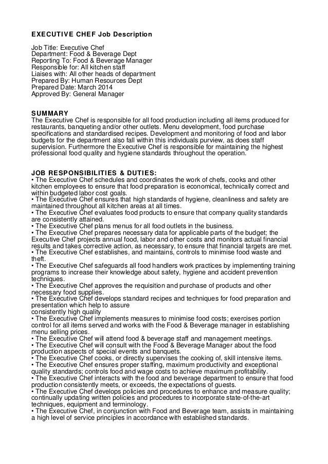 Executive Chef Job Description Job Title Executive Chef Department