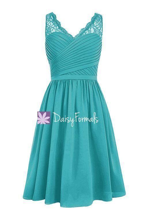 Cyan V-Neckline Bridesmaids Dress Short A-line Knee Length Formal ...