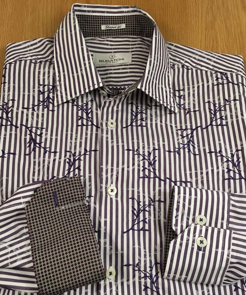 7ae4ec4b Bugatchi Uomo Mens Flip Cuff Long Sleeve Button Shirt Large Striped  Embroidered… #Bugatchi #