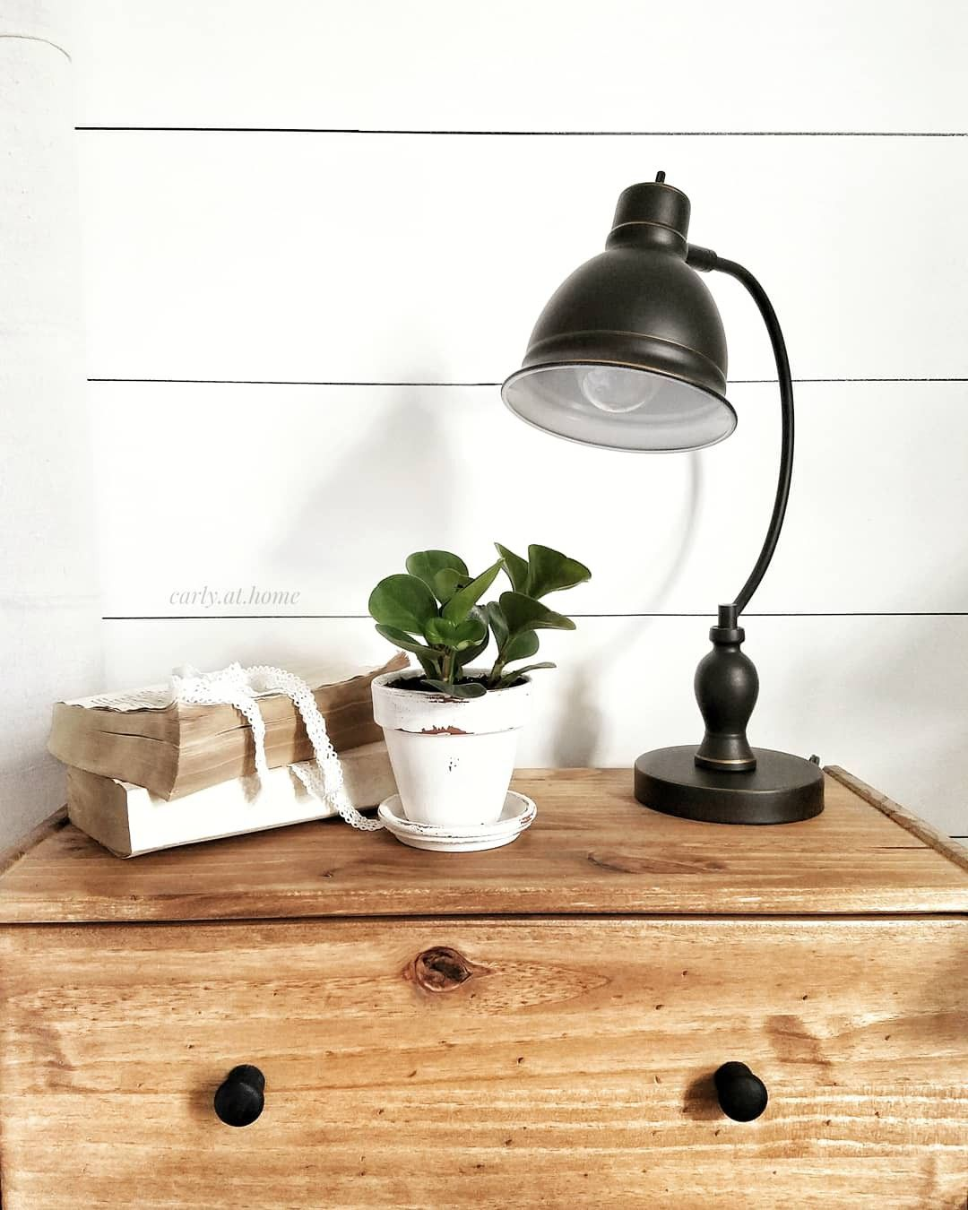 Simply styled nightstand Farmhouse bedroom, Lamp, Simply
