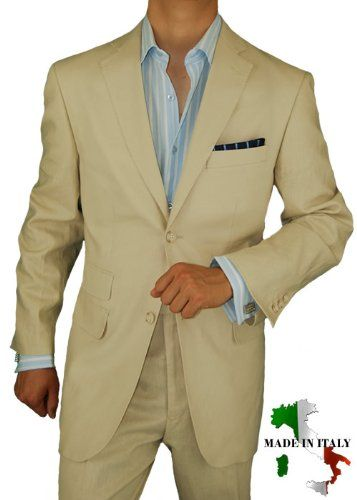 Bianco Brioni Made in Italy Linen Mens Suit 2 Button Flat Front Pants Ticket Pocket Custom Working Buttonholes BeigeBianco Brioni Made in Italy. JACKET: 2 button, single breasted, dual side vents jacket, 3 pockets with flaps, lapel notched, 4-button vented sleeves with working buttonholes. Viscose lining. PANTS: Flat Front dress pants, lined to just below knee 2 back pockets with buttons, length unfinished, inside waistband for reinforcement, tro...