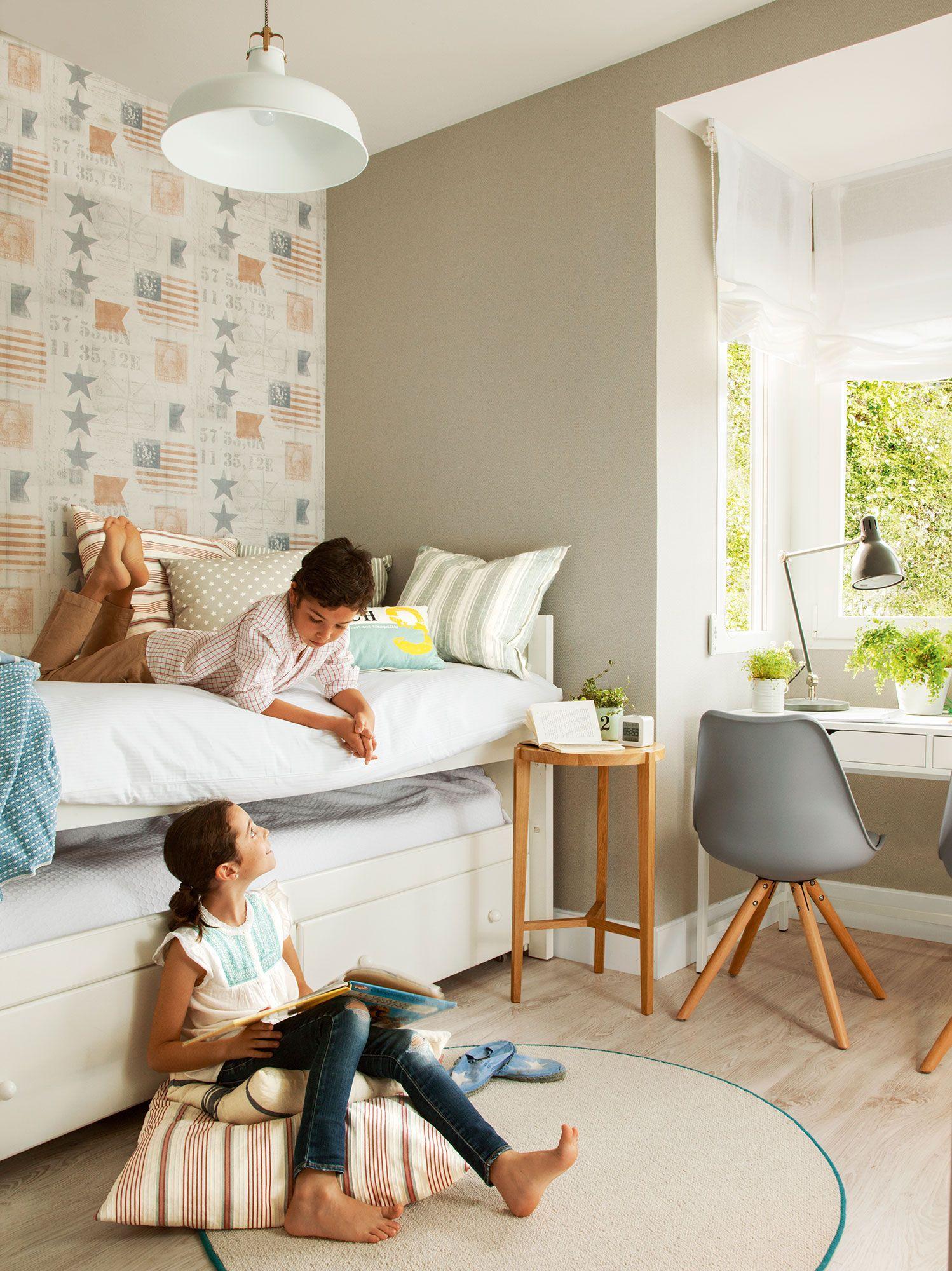 Habitaci N Infantil Con Papel Pintado Y Ni O Y Ni A_412630 Ni Os  ~ Papel Para Habitaciones Infantiles