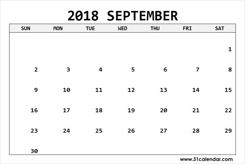 Printable September 2018 Days Calendar Editable 31 calendar