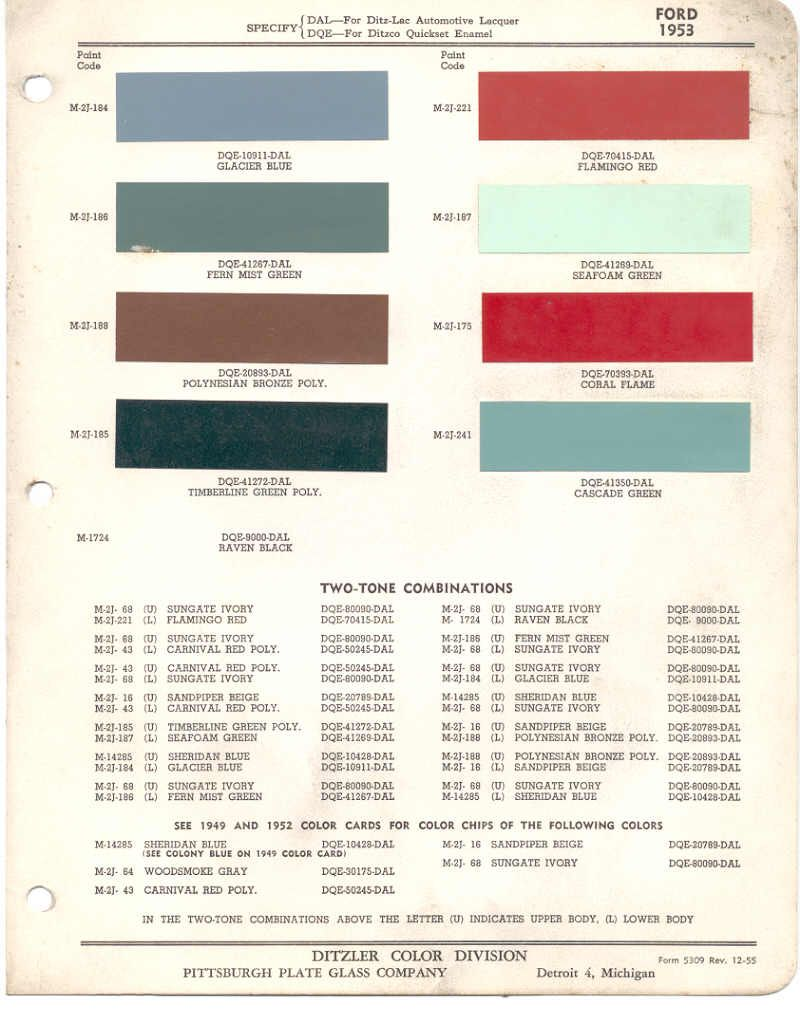 Paint Chips 1953 Ford Truck Lincoln Mercury Ford Lincoln Mercury