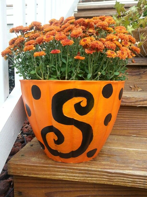 Polkadot monogrammed pumpkin flower pot. I made this after the sun faded this pot over the past several years.