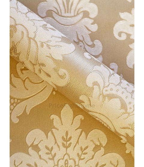 This Messina Gold Damask Wallpaper By Arthouse Features An Ornate Damask Pattern In A Soft Beige
