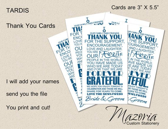 Printable Wedding Thank You Place Cards Doctor Who Tardis With Blue Writing On