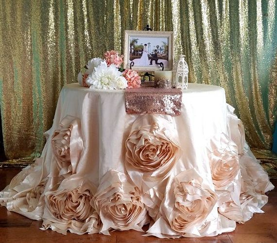 Charming Ivory Round Rosette Tablecloth, Ivory Wedding Linens, Roses Tablecloth,  Ivory Rosette Tablecloth, Ivory Rose Tablecloth