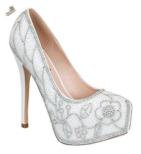 64458b41b Women's Kinko-165 Shimmer Almond Round Toe Dressy High Heel Pump White 11 -  De blossom collection pumps for women (*Amazon Partner-Link)