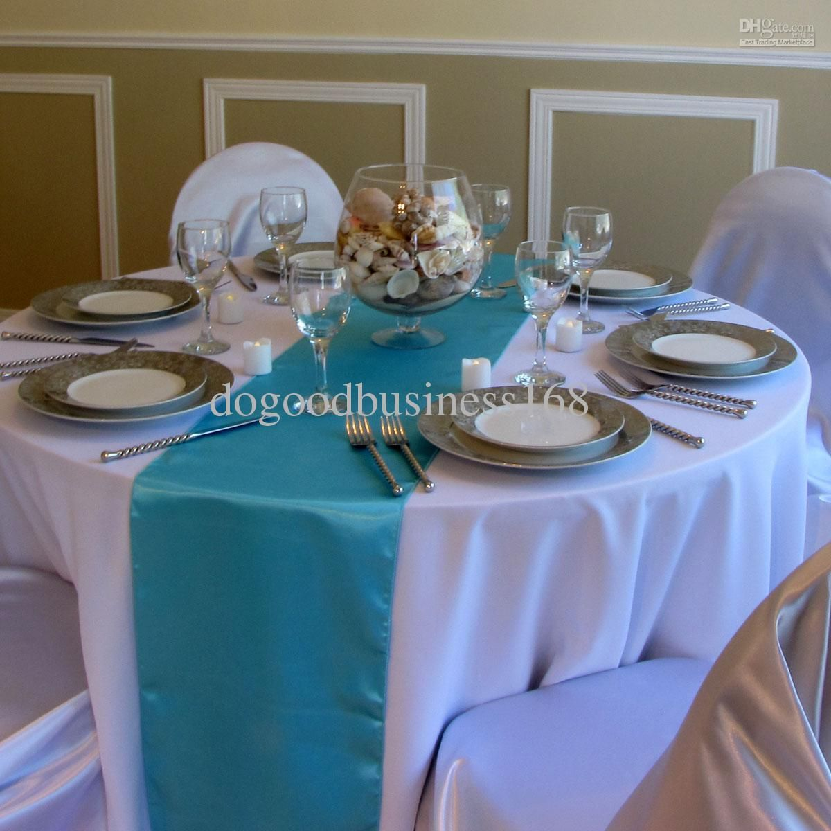Turquoise Table Runner Wholesale 5pcs Turquoise Satin Table