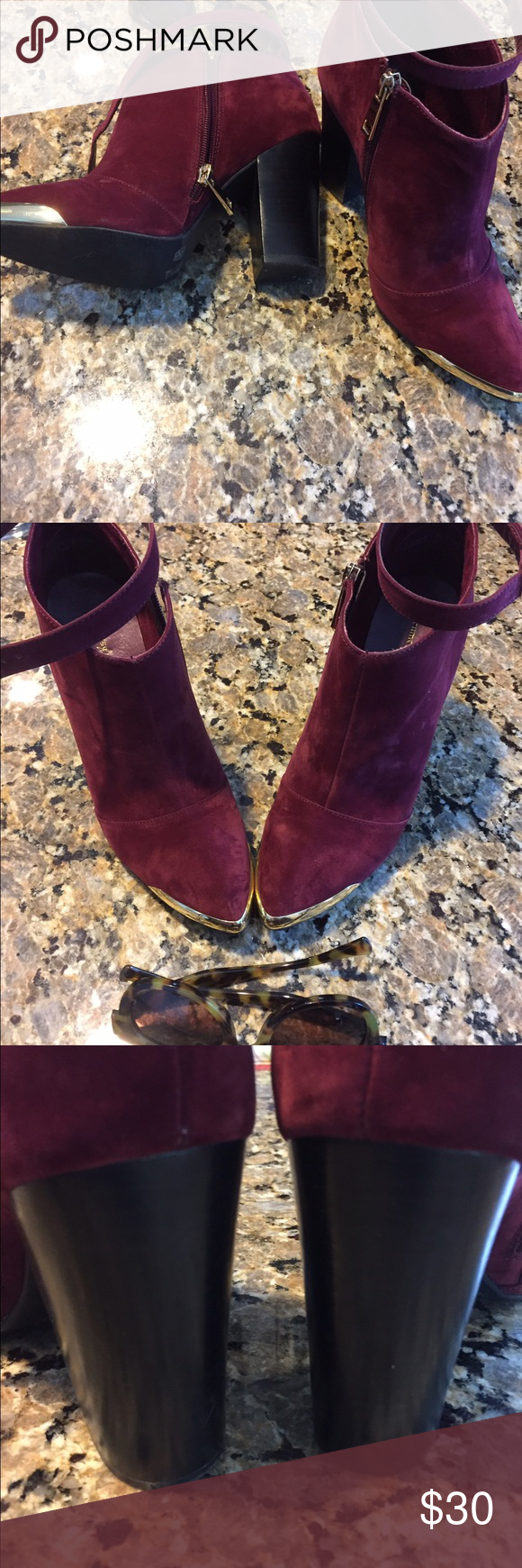 Chinese Laundry booties. Size 8 Worn twice.  Cranberry suede with gold details.  Heel height is 4 inches Chinese Laundry Shoes Ankle Boots & Booties