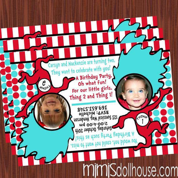 Thing 1 And 2 Inspired Decorations Printable By MimisDollhouse