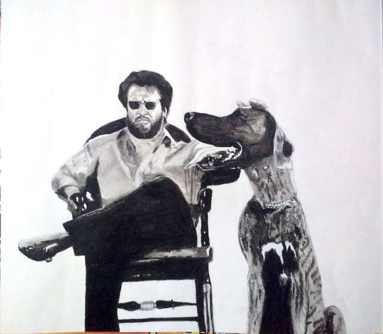 Original Celebrity Drawing by Nanda Babu | Portraiture Art on Cardboard | Baasha