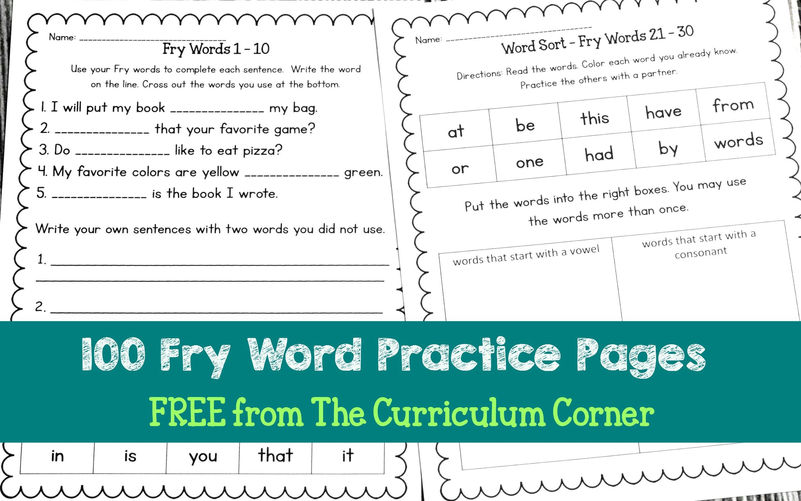 Free Fry Word Practice Pages