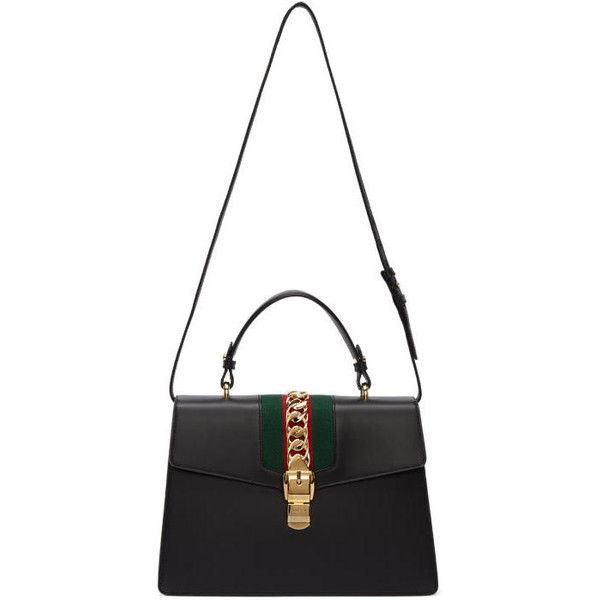 Gucci Black Medium Sylvie Bag (9,665 SAR) ❤ liked on Polyvore featuring bags, handbags, black, gucci handbags, top handle bags, embellished purses, studded handbags and stripe purse