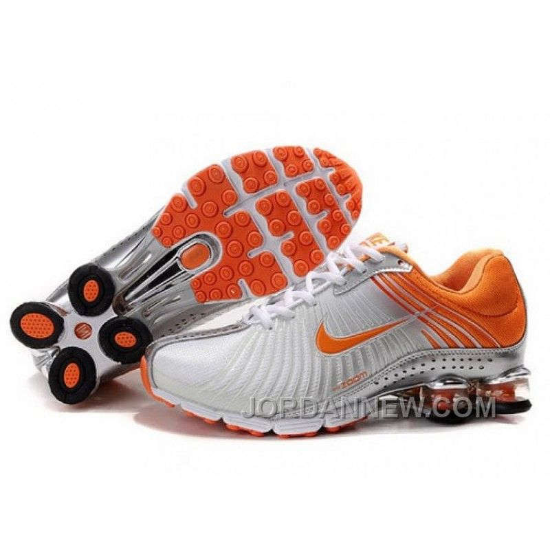 Women's Nike Shox R4 Shoes White/Silver/Orange New Release, Price: $78.12