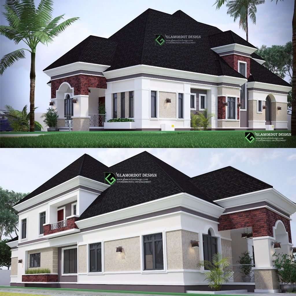 Architectural Design Of A 5 Bedroom Bungalow With Penthouse On 1 Plot Of 450sqm 100ft By 50ft Beautiful House Plans House Paint Exterior Bungalow House Design
