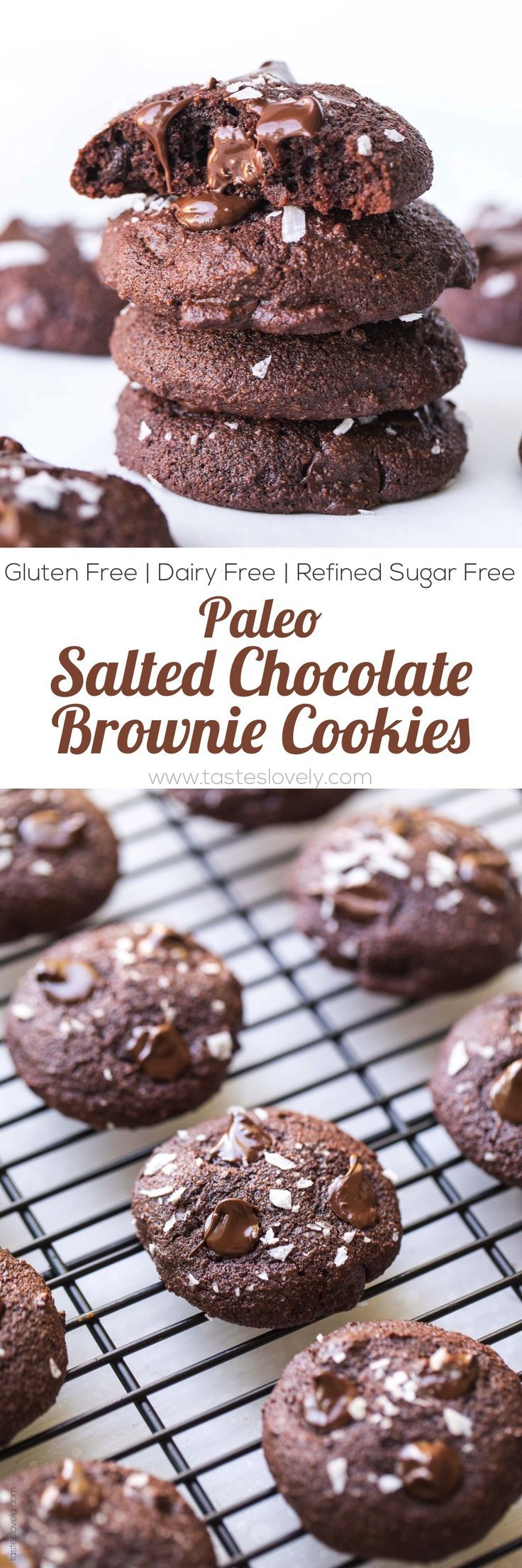 Paleo Salted Chocolate Brownie Cookies   Made with almond flour and sweetened with coconut sugar! Try these gluten free, dairy free, clean eating, DELICIOUS treats today! #TastesLovely #paleocookies #paleobaking #saltedchocolate #paleodesserts #glutenfreedesserts #glutenfreecookies