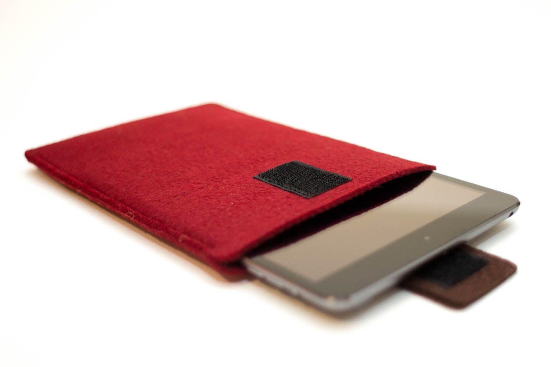 iPad Air/ Air 2 felt sleeve - Deep Red Felt with Brown Closure - pinned by pin4etsy.com