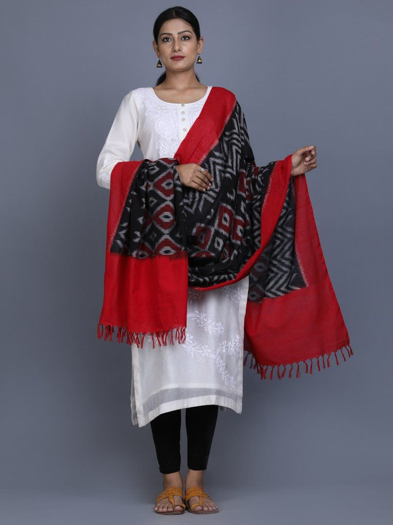1be5d61688c Black Red Cotton Ikat Dupatta