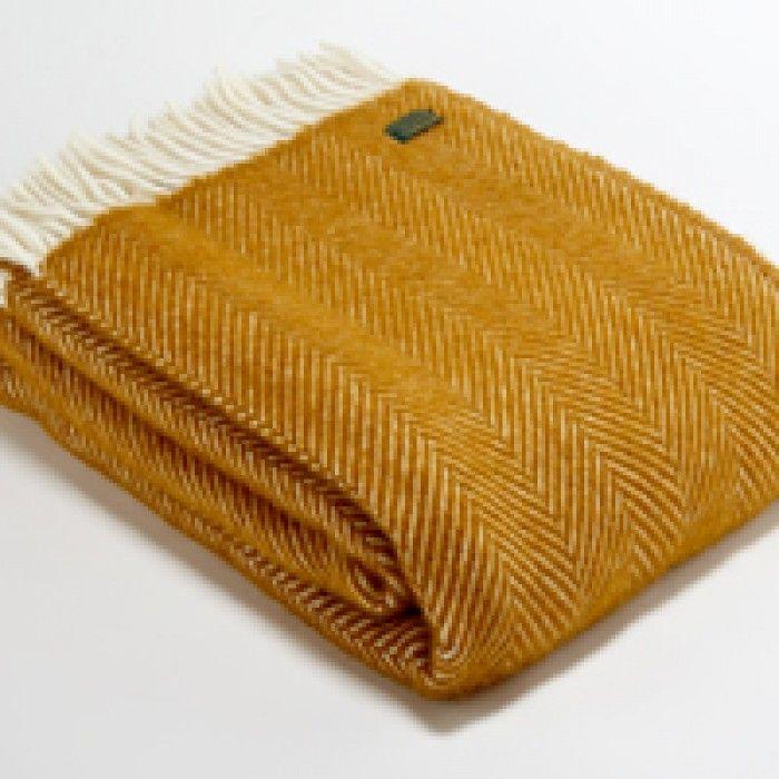 Tweedmill Pure New Wool Throw - Mustard