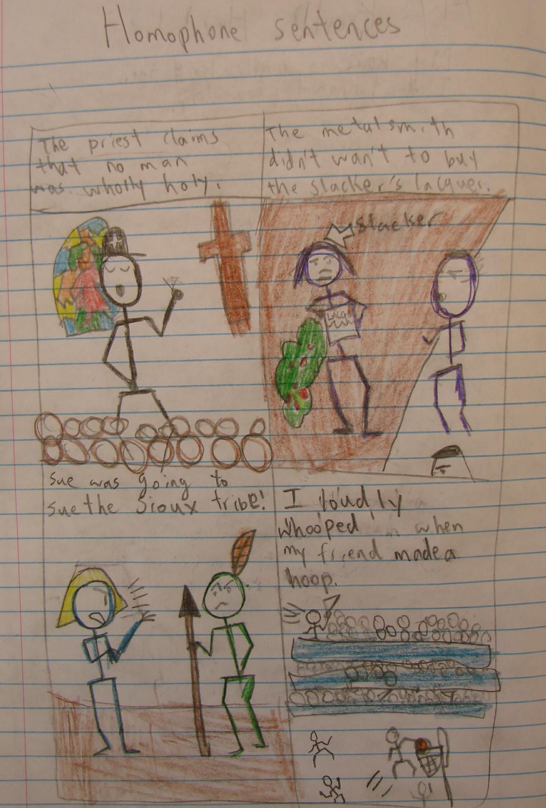 8th grader Chris took me up on my extra credit challenge of creating a page for his notebook with four homophone comics.  Here is the link to the online lesson that inspired this student sample: http://corbettharrison.com/GT/Chocolate-Moose.htm