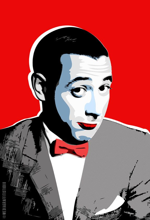 Pee wee herman celebrity portrait pop art illustration in black white and red