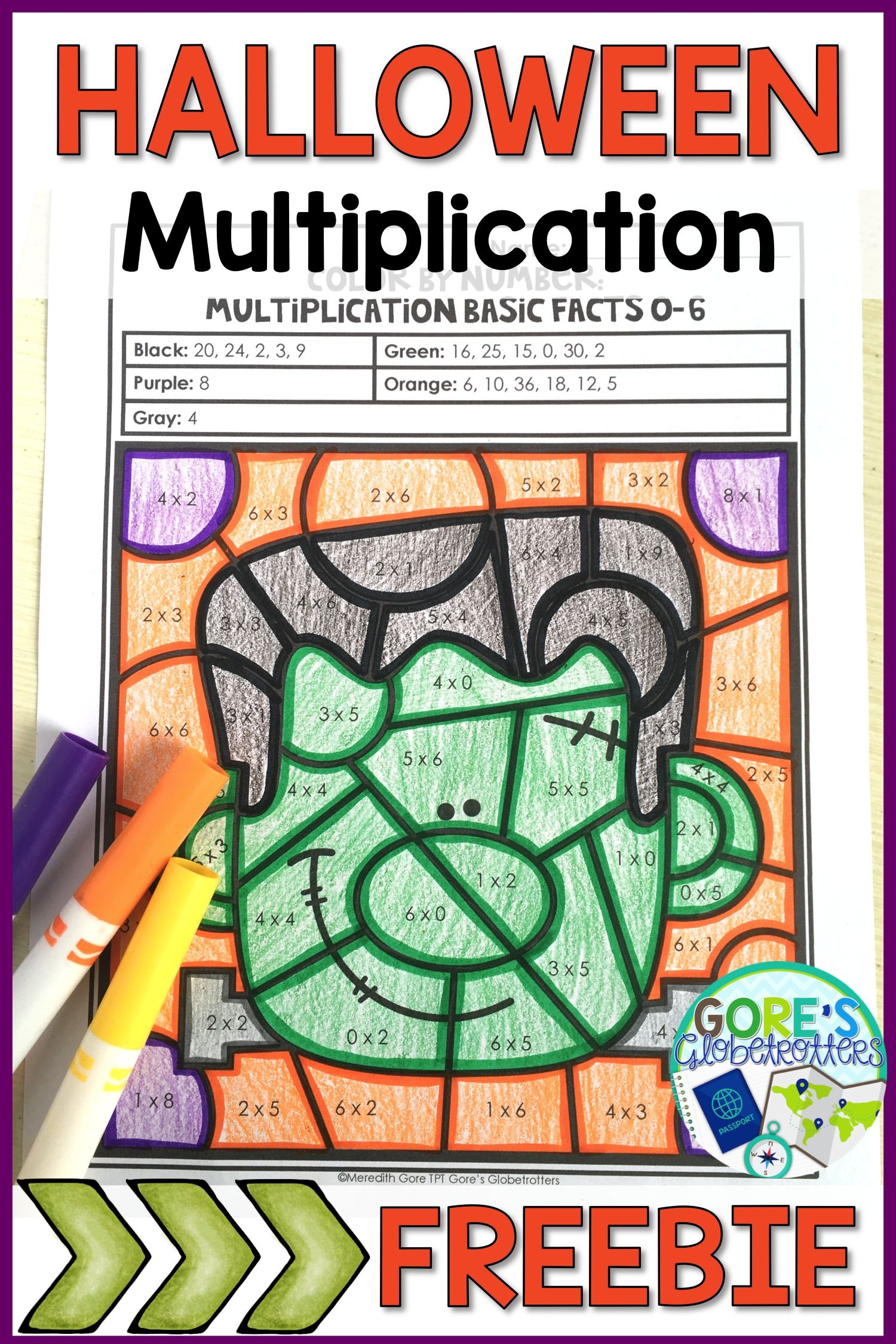 This Halloween multiplication color by number activity is fun and ...