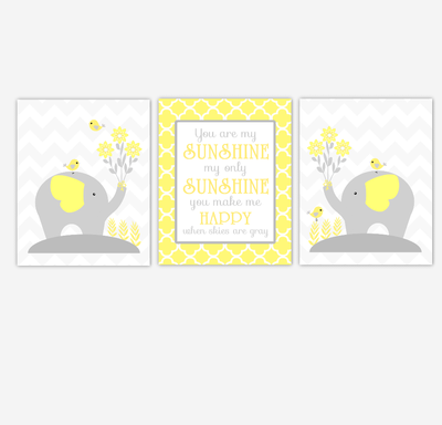Yellow Gray Baby Nursery Wall Art Elephant You Are My Sunshine ...