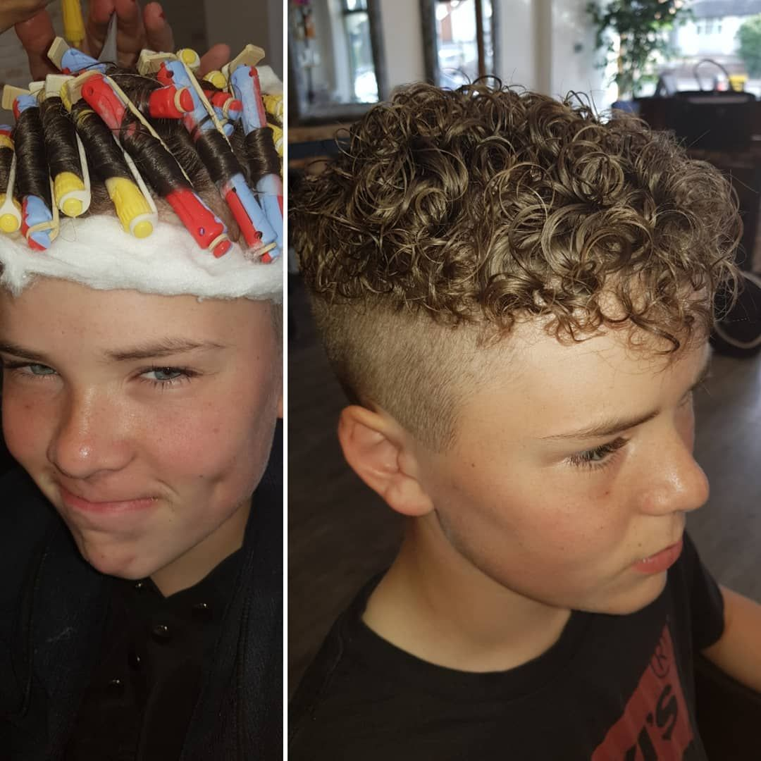 "Bella Vie Hair Design on Instagram: ""Having fun!! Perms are all the rage for teenage boys these days !! Loving the boy looking fab with is new hair do!! #boyperms…"""
