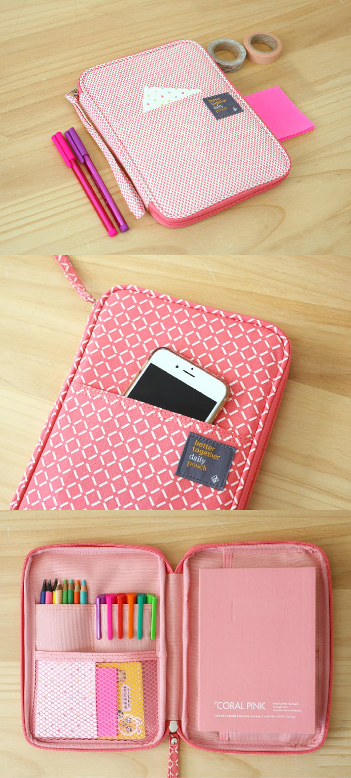 Our popular and multi-use Better Together Daily Pouch introduces 4 NEW beautiful designs and colors! Elegant violet square, perfect pink square, awe-inspiring pink rain, and classic gray leaf styles are now in and ready for you to use their many pockets for so many uses, such as for school, craft organizer, iPad case, travel buddy and more!